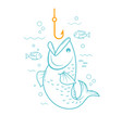 concept of fishing linear style vector image