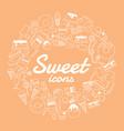 Sweet icon set on orange background vector image