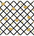 Golden hearts rhombus seamless pattern vector image