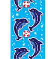 Seamless sea vertical border with dolphins vector image vector image