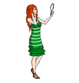 Red-haired girl with a mirror vector image vector image