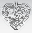 circuit board pattern in the shape of the heart vector image