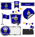 Glossy icons with Kansan flag vector image