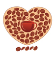 heart with coffee grains vector image