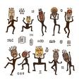 Dancing figures in African masks vector image