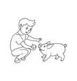 flat teen boy feeding small pig vector image
