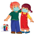 little boy and girl in medical masks vector image