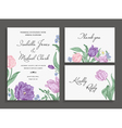 Vintage wedding set with spring flowers vector image