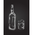 Whiskey Bottle and Glass Hand Drawn Drink vector image