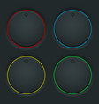 Black round knob buttons and colored backlight vector image