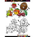 fruits group cartoon coloring page vector image vector image