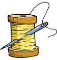 skein of thread with needle vector image vector image