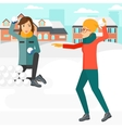 Women playing in snowballs vector image