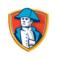 Napoleon Bonaparte Bicorn Hat Shield Retro vector image