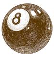 engraving billiards 8 ball vector image vector image