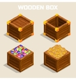 Cartoon wooden isometric boxes for game vector image