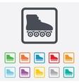 Roller skates sign icon Rollerblades symbol vector image