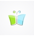 Logo with a combination of books and butterflies vector image