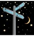 street sign showing cities - london paris new york vector image