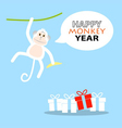 Happy New Year greeting card 2016 Year of Monkey vector image