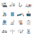 Plumber service flat icons collection vector image