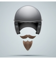 Motorcyclist symbol with mustache and beard vector image