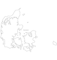 Black White Denmark Outline Map vector image
