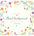 Cute floral background with flowers and herbs vector image