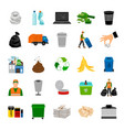 color icons garbage collection vector image