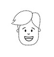 dotted shape man head with hairstyle design vector image