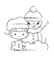 figure girl with christmas clothes and snowman vector image