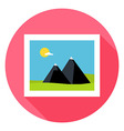 Flat Landscape Picture Circle Icon with Long vector image