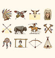 indian or native american buffalo axes and tent vector image