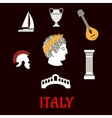 Italian culture and travel icons vector image