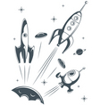Retro spaceship vector image