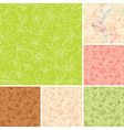 seamless color patterns with flora vector image