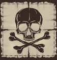 Skull and Crossbones over old damaged map vector image