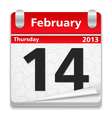 Calendar with 14 february page vector image vector image