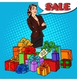 Pop Art Woman with Huge Gift Boxes vector image