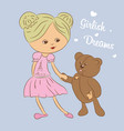 color  girl with teddy bear vector image