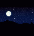 landscape with silhouette mountains and full moon vector image