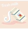 Fresh milk flow in glass paper package drops vector image