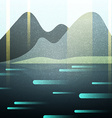 Abstract retro landscape with texture Lake and vector image