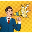 Pop art boss business leader and megaphone vector image