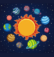 solar system background with planets around the vector image