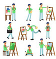 talented artist painter colorful character set vector image