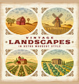 Vintage colorful landscapes set vector image