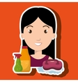woman cartoon clear brush cleaning vector image