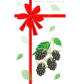 New Year Gift Card with Fresh Blackberries vector image
