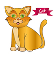 yellow cat sitting issolated over white background vector image